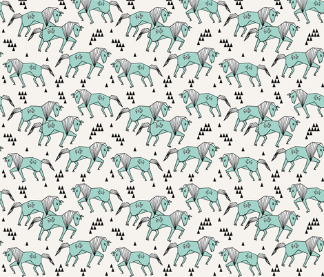 Geo horse mint and cream geometric horses kids for Kids horse fabric