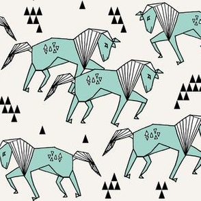 geo horse // mint and cream geometric horses kids triangles