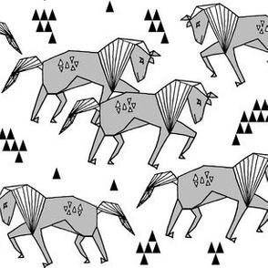horse // grey kids girls horses simple geometric triangles