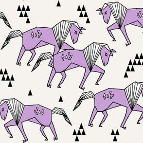 horses // geometric animal horse purple and cream off-white kids nursery baby