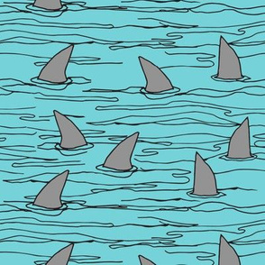 shark fin // sharks shark fin cute shark fabric boys blue shark fabric