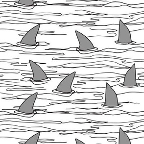 shark fin // sharks shark shark fabric white background shark spoonflower fabric shark fabric andrea lauren