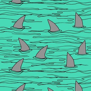 shark fin // bright green shark fabric shark design shark pattern cute kids shark pattern