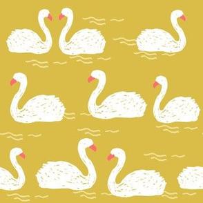swans // mustard yellow swans swan pond birds