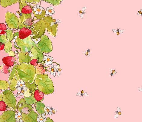Strawberries and Bees Border Print fabric by anntuck on Spoonflower - custom fabric