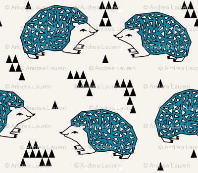 Geo Hedgehog - Teal and Cream by Andrea Lauren