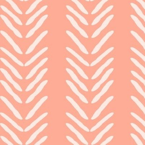 Herringbone on Coral / Salmon Pink