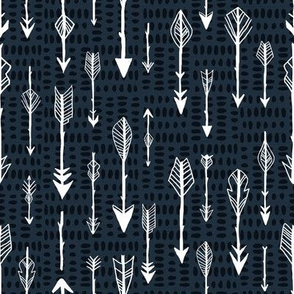 Mudcloth Arrows on Dark Denim Blue