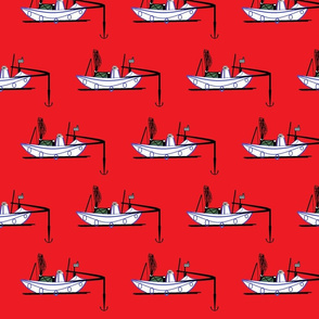 Red background fishing kayak