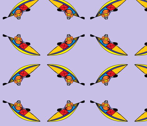 Kayaking_paddle_trip fabric by kittykittypurrs on Spoonflower - custom fabric