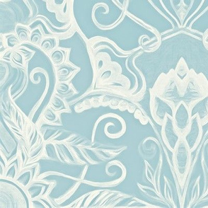 Floral Pattern in Duck Egg Blue & Cream