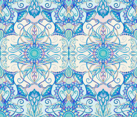 Teal Blue, Pearl & Pink Floral Pattern fabric by micklyn on Spoonflower - custom fabric