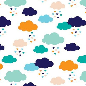 Colorful scandinavian style modern clouds and hearts for boys