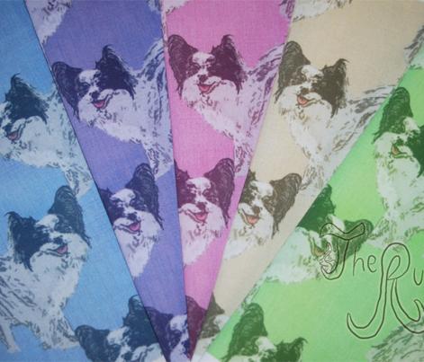 Standing Papillon - blue fabric - rusticcorgi - Spoonflower