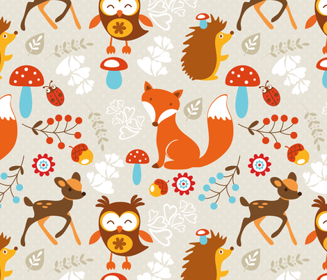 Woodland Creatures fabric by rocky_rocks_designs on Spoonflower - custom fabric