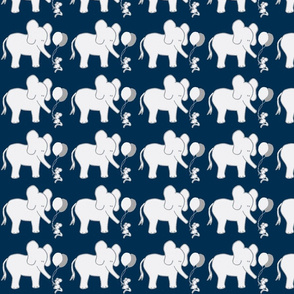 LARGE SCALE Lets Be Friends Navy and Grey Elephant and Mouse-ch-ch