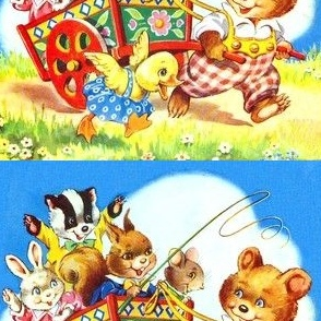 rabbits bunny badgers squirrels mouse mice rats bears ducks ducklings children grass flowers carts wagons children vintage retro kitsch