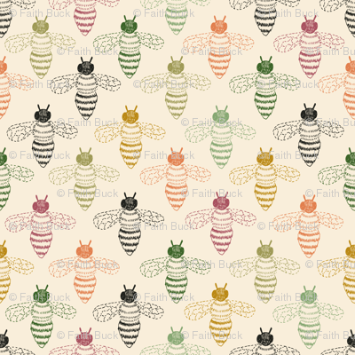 Bee Drawing multicoloured