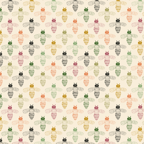 Bee Drawing multicoloured fabric by seesawboomerang on Spoonflower - custom fabric