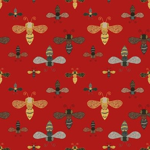 Ornate Bees on Red