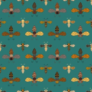 Ornate Bees on Teal