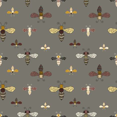 Ornate Bees on Gray fabric by seesawboomerang on Spoonflower - custom fabric