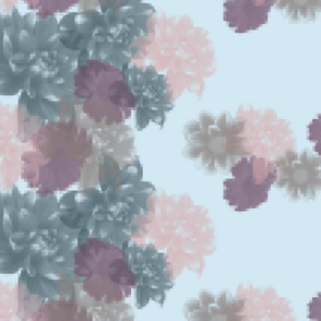 "Pixelated Floral Border - Blue (56"")"