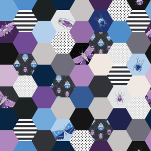 Hexagon Cheater Quilt - Purple & Blue Bugs