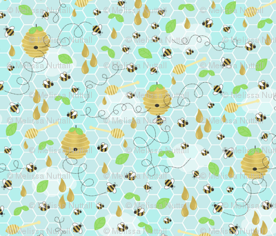 Rbee_golden_large_blue_sky_fabric_preview