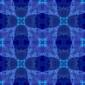 Frozen stars, blue ornamental  pattern
