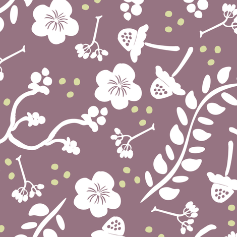 Spring purple fabric by fat_bird_designs on Spoonflower - custom fabric