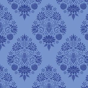Blue Bee Damask