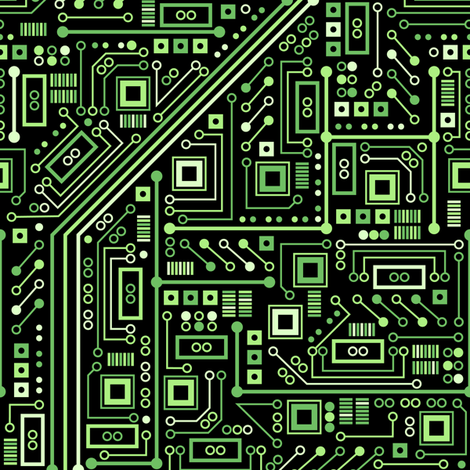 Short Circuits (Black and Green) fabric by robyriker on Spoonflower - custom fabric
