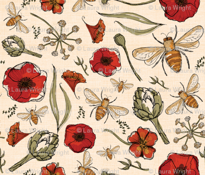 The art of bee keeping  Bees Artichoke Poppy Floral