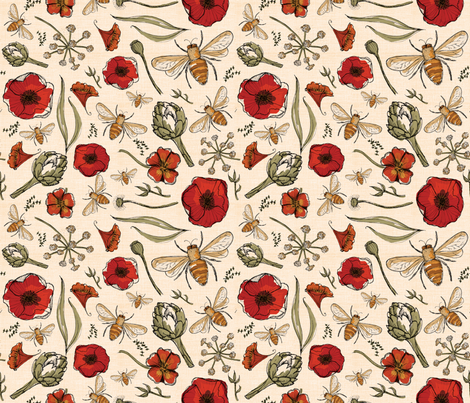 The art of bee keeping  Bees Artichoke Poppy Floral fabric by laurawrightstudio on Spoonflower - custom fabric