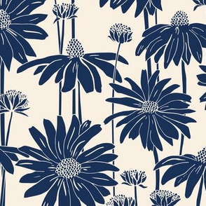 Sunshine Daisy - indigo Cream
