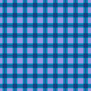 Madrasi Check 1 in lavender and turquoise and blue