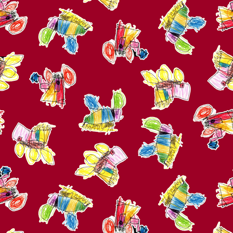 Bubbie's trucks on crimson fabric by weavingmajor on Spoonflower - custom fabric