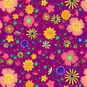 Ditzy Flowers in Berry