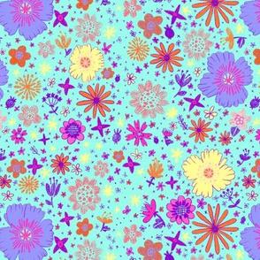Ditzy Flowers in Cyan