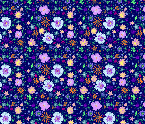 Ditzy Flowers in Navy fabric by alyssarspencer on Spoonflower - custom fabric
