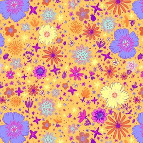 Ditzy Flowers in Creamsicle