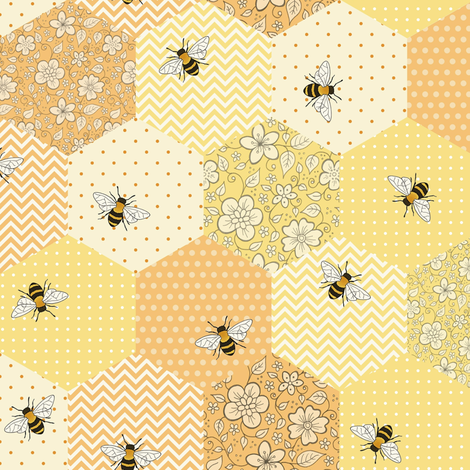 Patchwork Bees fabric by hazel_fisher_creations on Spoonflower - custom fabric