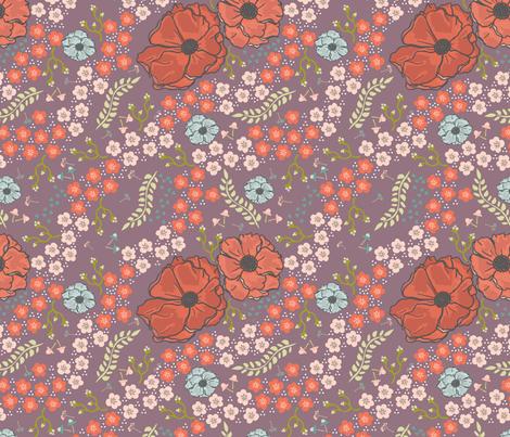 Spring Flowers in Purple fabric by fat_bird_designs on Spoonflower - custom fabric