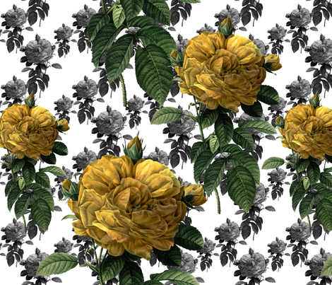 Redoute' Roses ~ Yellow ~ Large fabric by peacoquettedesigns on Spoonflower - custom fabric