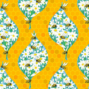 Busy Bees Daisy Damask