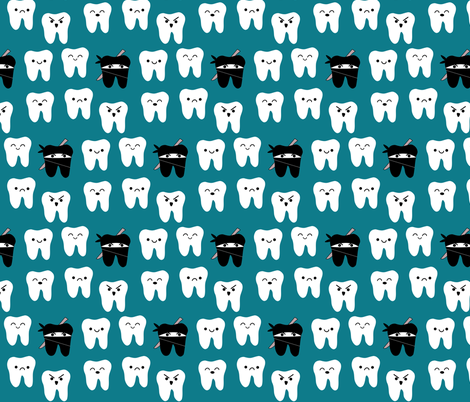 Way of the Ninja Tooth - Teal fabric by clayvision on Spoonflower - custom fabric