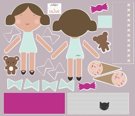 Olive - Doll Fabric fabric by seekatesewfabric on Spoonflower - custom fabric