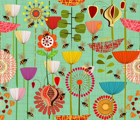 Where the Bees fly fabric by chicca_besso on Spoonflower - custom fabric