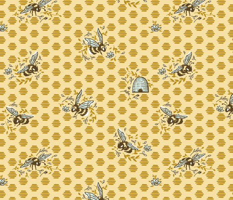 Ditsy Bumble fabric by khubbs on Spoonflower - custom fabric
